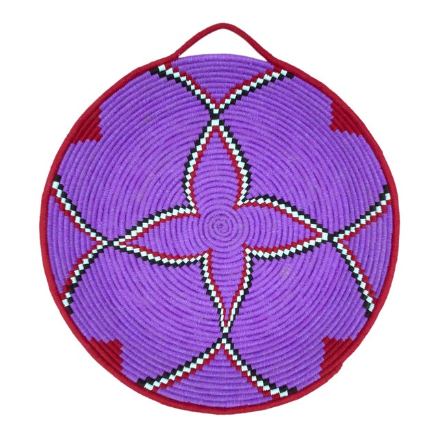 Purple and Red Moroccan Wool Tray - Image 1 of 8
