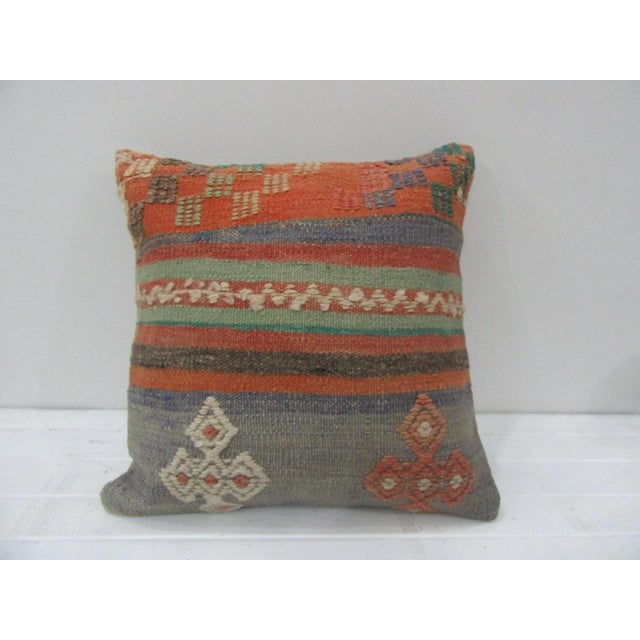 Vintage Handwoven Orange and Blue Striped Turkish Kilim Pillow Cover For Sale - Image 4 of 4