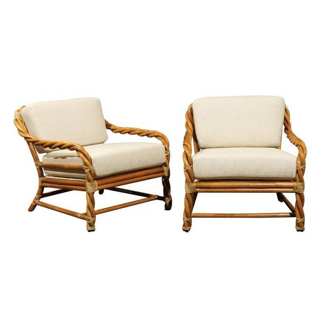 1980s Pair of Restored Braided Rattan Loungers by McGuire For Sale - Image 11 of 11