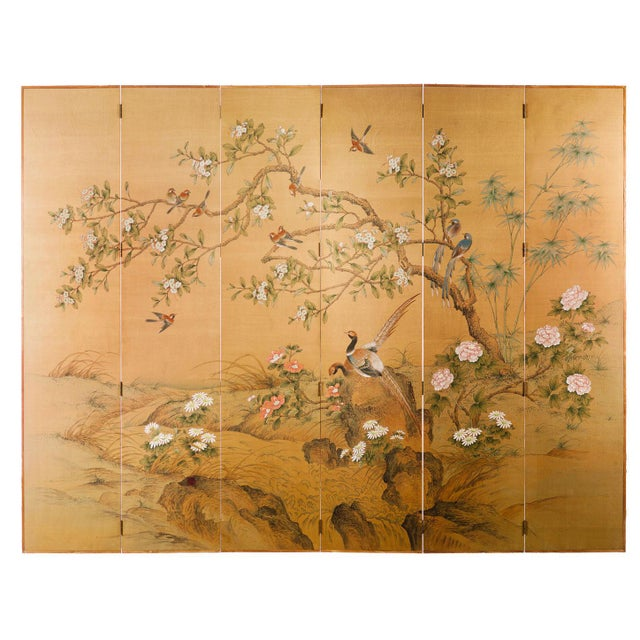 Sung Tze-Chin Large Chinoiserie Hanging Screen Ink on Silk Birds and Flowers Scene 9 Feet Wide by 7 Feet Height For Sale - Image 13 of 13