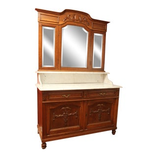 Late 19th Century Antique Ornate Marble Top Carved China Cabinet For Sale