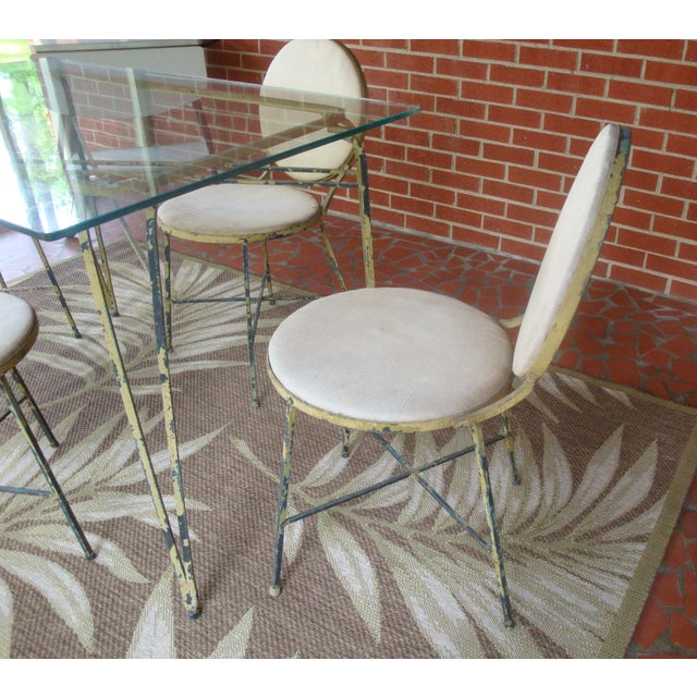 Mid-Century Modern Midcentury Modern Salterini Glass and Iron Dining Table, 4 Chairs, Indoor Outdoor For Sale - Image 3 of 4