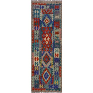 Contemporary Kilim Annamae Gray/Teal Hand-Woven Wool Rug - 2'9 X 6'5 For Sale