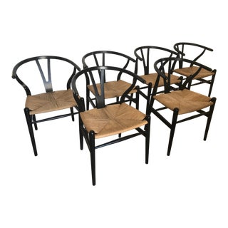 Black Hans Wagner Wishbone Chairs - Set of 6 For Sale