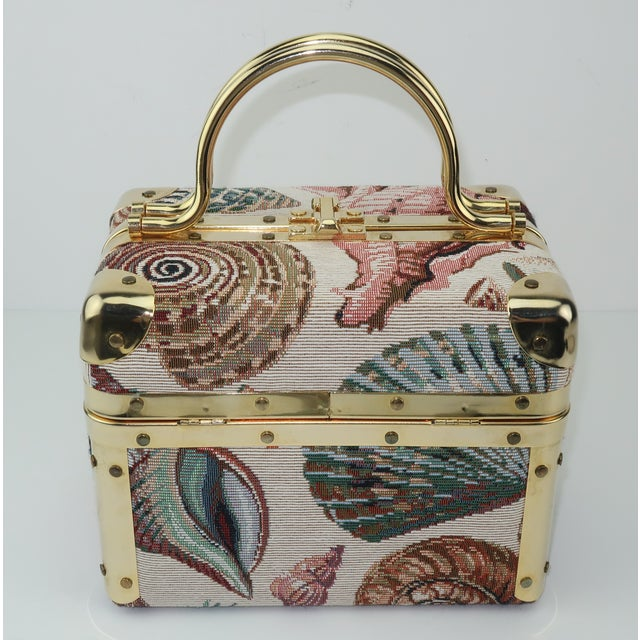 1980s 1980's Lisette New York Seashell Tapestry Train Case Handbag For Sale - Image 5 of 12