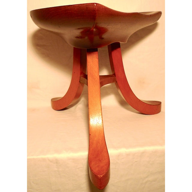 Mid-Century Modern Vintage Early 20th Century Sculpted Ash Tripod Saddle Stool For Sale - Image 3 of 12