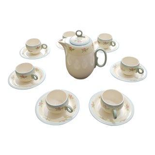 1930s Americana Porcelain Tea Set - 7 Person, 15 Piece For Sale