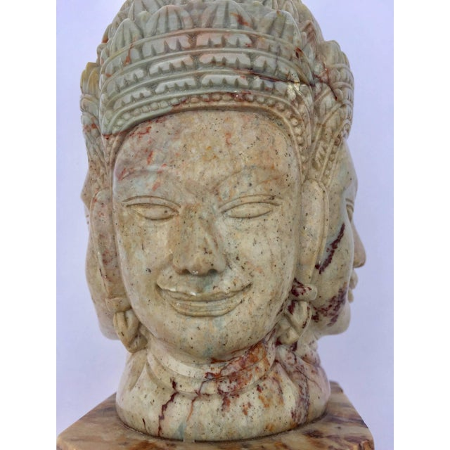 Soapstone Hand-Carved Bust of Brahma With Four Faces For Sale - Image 10 of 13