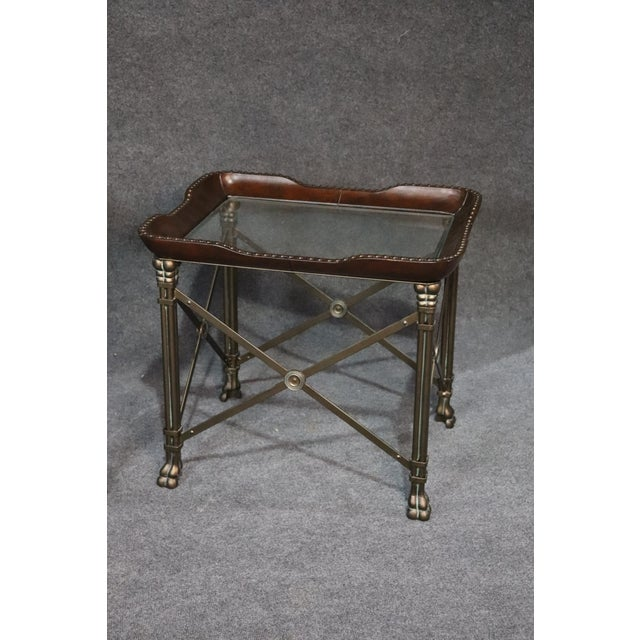 Regency Directoire Style Glass Top End Tables - a Pair For Sale - Image 3 of 10