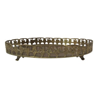 Vintage Oval Brass Footed Tray For Sale