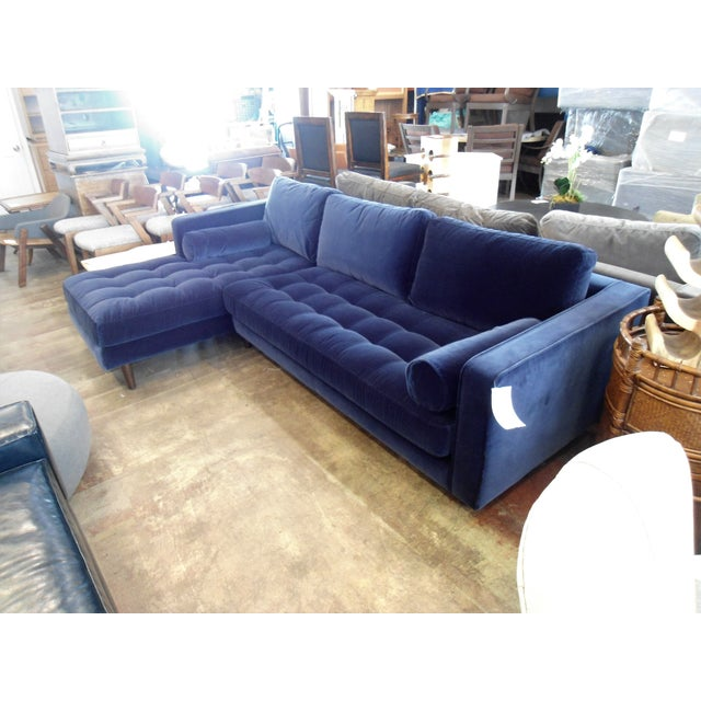 Mid-Century Modern Navy Blue Velvet Sectional W/ Tufted Seat, Left Chaise For Sale - Image 3 of 6