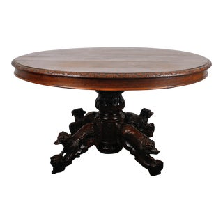1890's Antique Henri II Oak Round Extendable Carved Dining Table For Sale