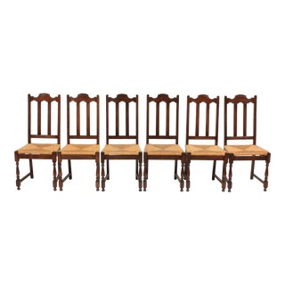 Vintage Belgian Jacobean Style Dining Room Chairs - Set of 6 For Sale