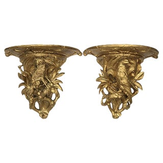 C. 1850 Black Forest Hunting Theme Wall Shelves - a Pair