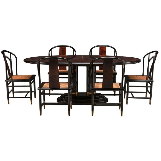 Chinoiserie Henredon Black Lacquer and Burl Dining Table - 7 Pieces For Sale