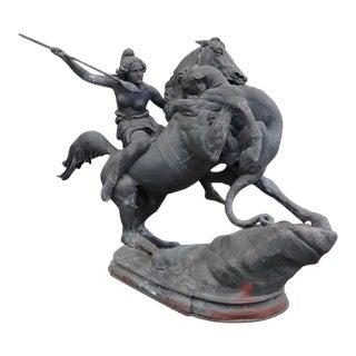 19th Century Zinc Amazon Woman on Horse Statue For Sale