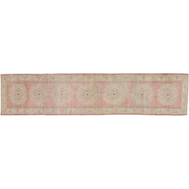 "Vintage Turkish Hand Knotted Whitewash Organic Wool Fine Weave Runner Rug,2'6""x11'6"" For Sale In New York - Image 6 of 6"