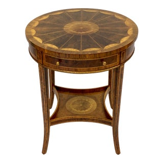 Late 20th Century Maitland Smith Mahogany Inlaid Accent Table For Sale