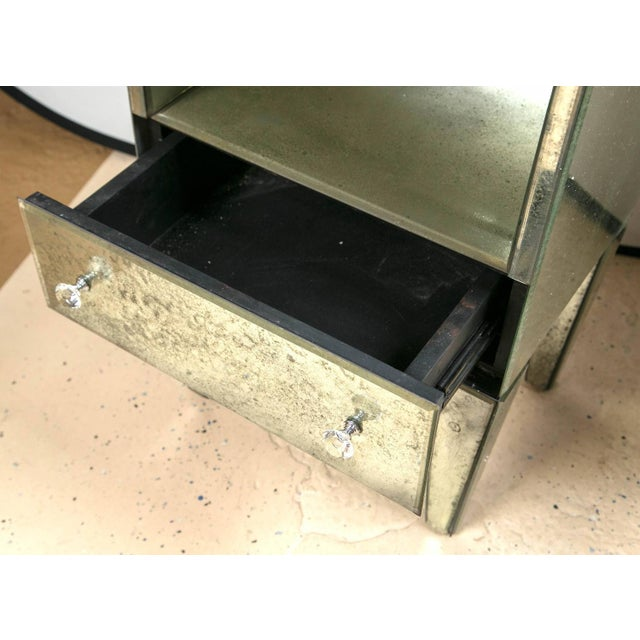 Petite Antiqued Mirrored Nightstands - A Pair - Image 6 of 7