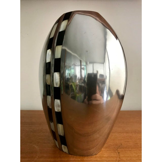 Flower Vase With Abalone Shell Chrome For Sale - Image 4 of 6