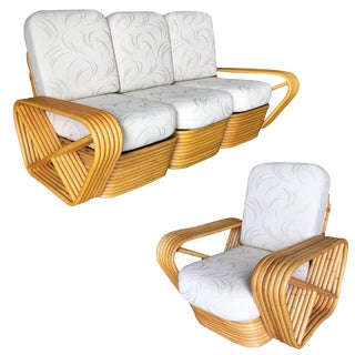 Reatored Paul Frankl Six-Strand Rattan Sofa and Lounge Chair Set For Sale