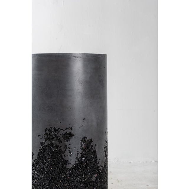 Plaster Hand Made Tourmaline and Black Plaster Tall Drum, Side Table by Samuel Amoia For Sale - Image 7 of 13