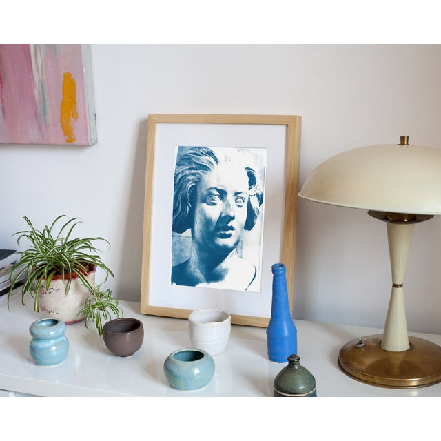 Baroque Limited Serie Cyanotype Print - Bernini Woman Bust Sculpture on Watercolor Paper For Sale - Image 3 of 4