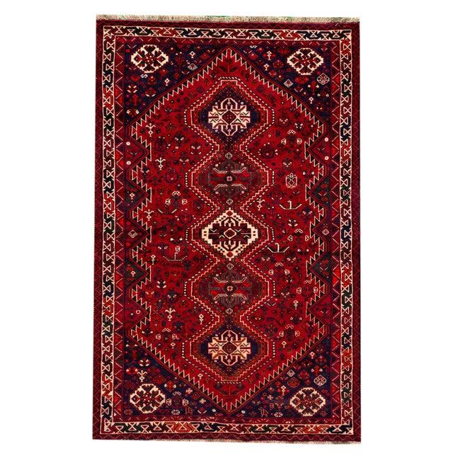 "Vintage Persian Shiraz Rug, 5'6"" X 8'9"" For Sale - Image 9 of 9"