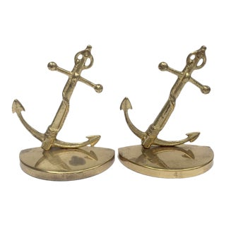Vintage Brass Nautical Anchor Bookends For Sale