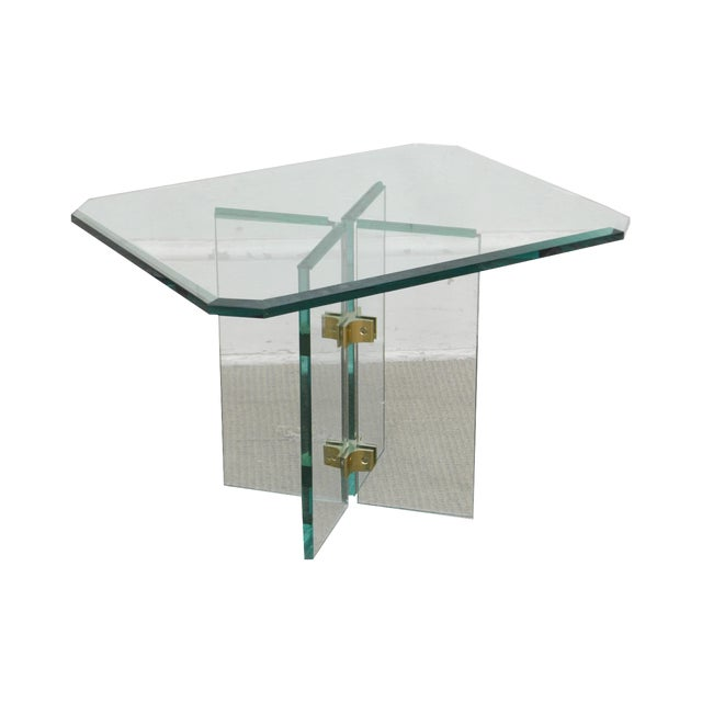 Leon Rosen for Pace Modern Glass Brass Side Table For Sale