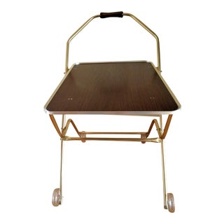 Mid Century Modern Folding Tray Table Rolling Cart With Glitter Wheels For Sale