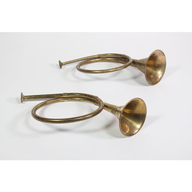 Traditional 1940's Vintage Mid-Century Brass Christmas French Horn Ornaments - a Pair For Sale - Image 3 of 4