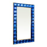 Image of Contemporary Blue Diamond Murano Glass Mirror For Sale