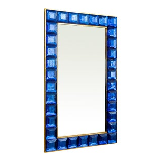 Contemporary Blue Diamond Murano Glass Mirror For Sale
