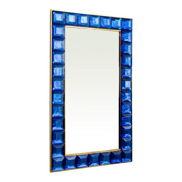 Contemporary Blue Diamond Murano Glass Mirror For Sale