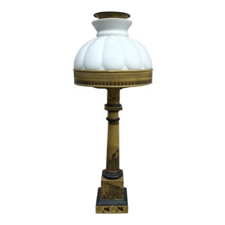 Antique Victorian Mustard Color Column Lamp With Glass Shade For Sale