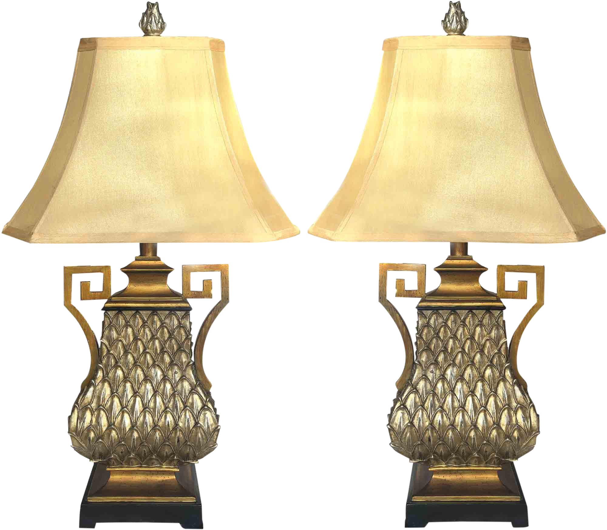 Vintage Greek Key And Feather Table Lamp A Pair Chairish