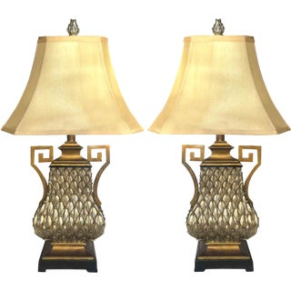 Vintage Greek Key and Feather Table Lamp - a Pair For Sale