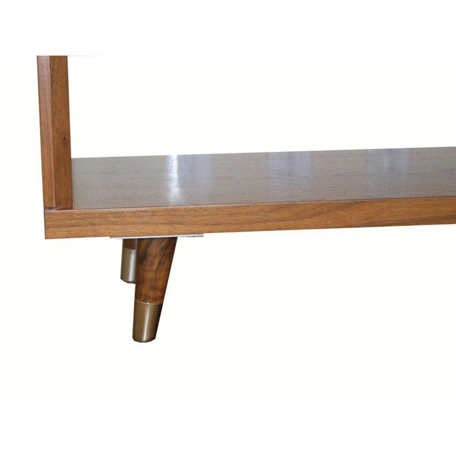Brass Customizable Francois Walnut and Parchment Nightstands For Sale - Image 7 of 9