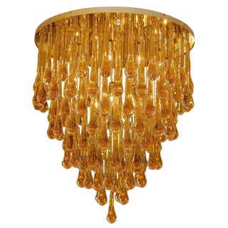 Barovier & Toso Large Amber Glass Teardrop Chandelier For Sale
