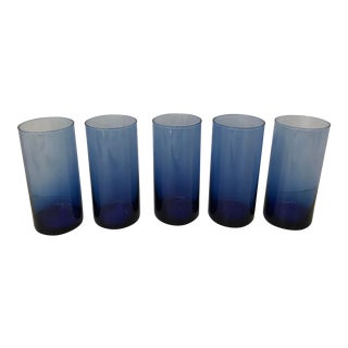 Vintage Blue High Ball Glasses - Set of 5 For Sale