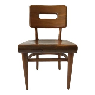 1950s Solid Wood Desk Chair For Sale