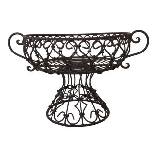Wrought Iron Bowl on Pedestal For Sale