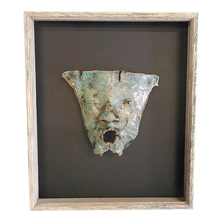Original Vintage Handmade Stoneware Mask-Form Sculpture