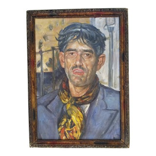 Mid Century Russian Man Portrait Painting For Sale
