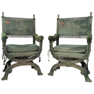 Pair of Curule Form Spanish Large Throne Armchairs For Sale