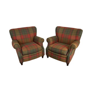 Plaid Upholstered Pair Club Chairs For Sale
