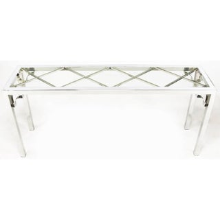 Chrome and Glass Chinese Chippendale Console Table Preview