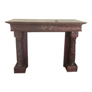 Antique Carved Wood Mantel and Fireplace For Sale