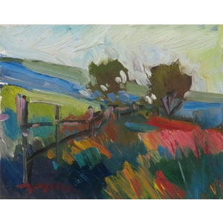 """""""Country Fence"""" Contemporary Southwestern Landscape Oil Painting by Jose Trujillo For Sale"""